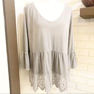 Sonoma Light Grey Lace Trim Ruffle Sleeve Top